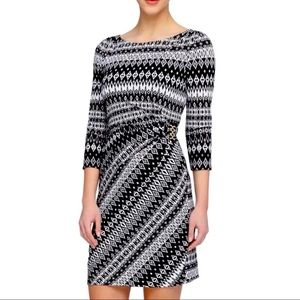 Tahari ASL Black White Sheath Dress Ruched Geo